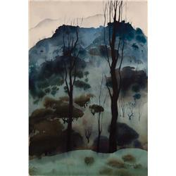Eyvind Earle original 1951 watercolor landscape