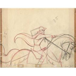 Original production drawing of Prince Phillip on horse from Sleeping Beauty
