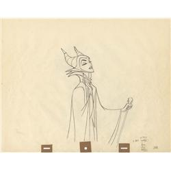 Original production drawings of Maleficent with raven by Marc Davis from Sleeping Beauty
