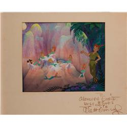 Peter Pan and Mermaids key cel and production background from Peter Pan signed by Walt Disney