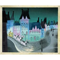 Mary Blair original concept painting of carriage in street for Cinderella