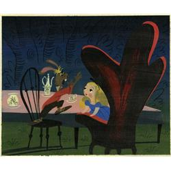 Mary Blair original concept painting of Alice and Rabbit from Alice in Wonderland
