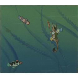 Original production cel of Jiminy Cricket on Seahorse from Pinocchio