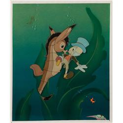 Jiminy Cricket and seahorse original production cel on Courvoisier background from Pinocchio