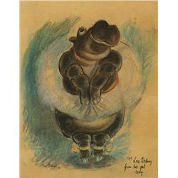 "Joe Grant original pastel artwork of hippo from ""Dance of the Hours"" sequence of Fantasia, signed"