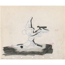 """The Sorcerer's Apprentice"" orig prod drawing of Mickey from lightening on mtn sequence of Fantasia"