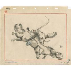 James Bodrero Fantasia layout drawing of Hippo and Alligator