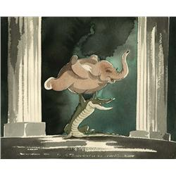 Ben Alligator and Elephanchine watercolor concept artwork from Fantasia