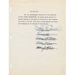 Walt Disney signed waiver letter and minutes approval of the special director's meeting