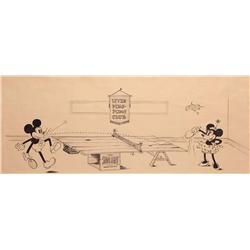 Mickey and Minnie Mouse inked publicity drawing early 1930s