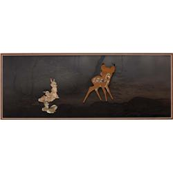 Bambi & rabbits original production cel and production background from Bambi