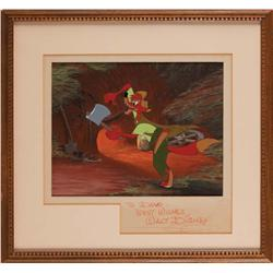 Song of the South Brer Fox animation production cel & background original art signed by Walt Disney