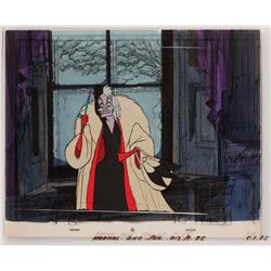 101 Dalmatians Cruella De Vil original production cel on original background