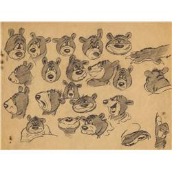 Original MGM Studios Barney Bear model drawings