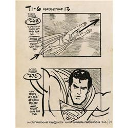 Alex Toth original production restage page from Super Friends