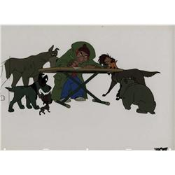 Oliver & Company production cel of Fagin and the dogs