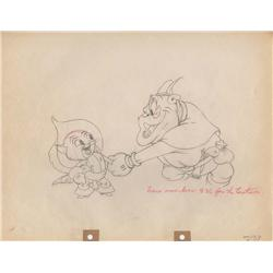 The Robber Kitten original production drawing of Ambrose & Dirty Bill shaking hands