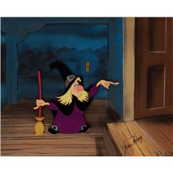 Production cel of Witch Hazel from Trick or Treat signed June Foray