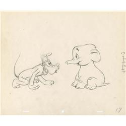 Pluto's Elephant original production drawing for an unmade short circa 1940
