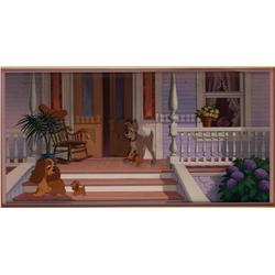 Lady and the Tramp original production cel and matching pan production background