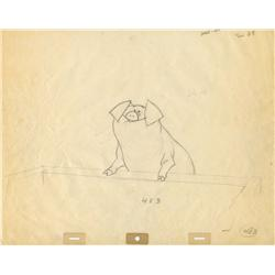 Original Walt Disney production drawing of pig from Mary Poppins