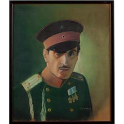 Original oil-pastel portrait of Basil Rathbone, inscribed by him to the family of Lawrence Tibbett