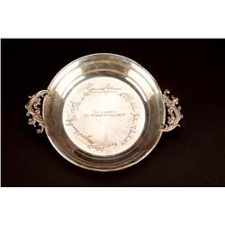 "Lawrence Tibbett's engraved sterling silver tray commemorating ""25 Years at the Met"""