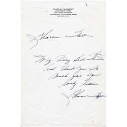 Sharon Tate ALS on Chateau Marmont stationery