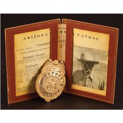 Honorary Arizona Highway Patrol badge given Howard Hawks during filming of Red River