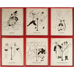 30 caricature prints commemorating You Bet Your Life radio program from home of Groucho Marx
