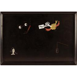 Bar tray to presented to Groucho Marx by NBC at conclusion of his TV show You Bet Your Life