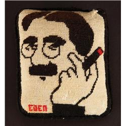 Needlepoint pillow hand-crafted of Groucho Marx by his wife Eden Hartford Marx