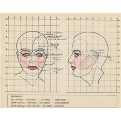 The Fountainhead pair of hand-colored original makeup mapping charts for Patricia Neal