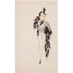 Vera West costume sketch for Marlene Dietrich from Seven Sinners