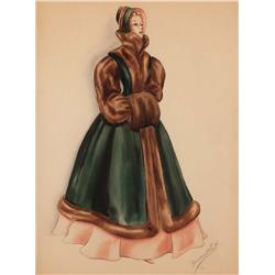 Gale Storm costume sketch from Sunbonnet Sue