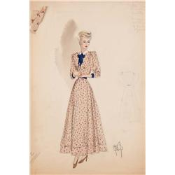 Jean Louis costume sketch for Evelyn Keyes in Renegades