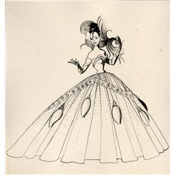 Costume sketch of Josephine Baker for 1951 Strand Theater performance