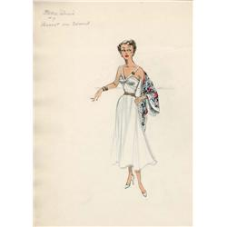 Edith Head costume sketch of Bette Davis for Payment on Demand