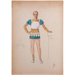 Valles costume sketch for Robert Taylor from Quo Vadis