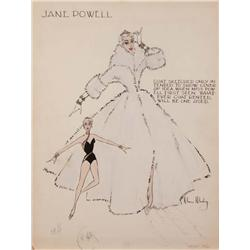 Moss Mabry costume sketch of Jane Powell for Three Sailors and a Girl signed by Jane Powell
