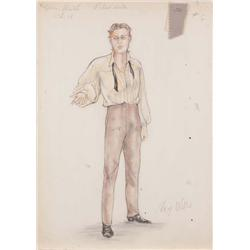 Mary Wills costume sketch of Richard Burton from Prince of Players