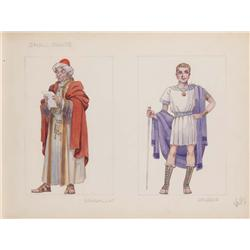 Pair of Valles costume sketches from Ben-Hur