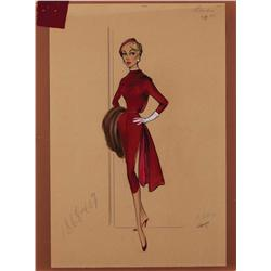Bill Thomas costume sketch of Shirley Jones for Never Steal Anything Small