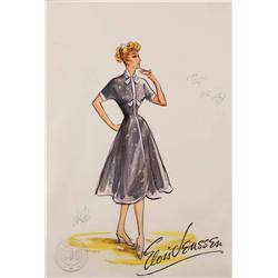 Costume Sketch by Elois Jenssen for I Love Lucy