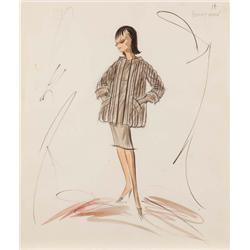 Edith Head costume sketch for Debbie Reynolds from The Pleasure of His Company