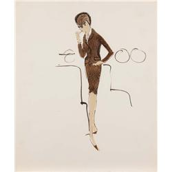 Edith Head costume sketch for Joanne Woodward from A New Kind of Love