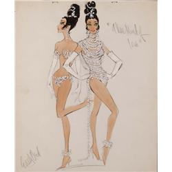 Edith Head costume sketch of showgirls for A New Kind of Love