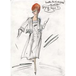Edith Head costume sketch of Lucille Ball for the television special Mr. and Mrs.