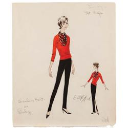 Edith Head costume sketch for Charlene Holt from Red Line 7000