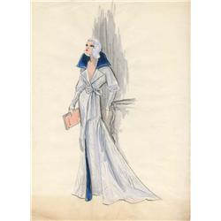 Edith Head costume sketch of Carroll Baker for Harlow